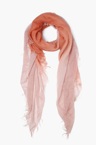 Autumnal Muted Clay Dip-Dyed Cashmere and Silk Scarf