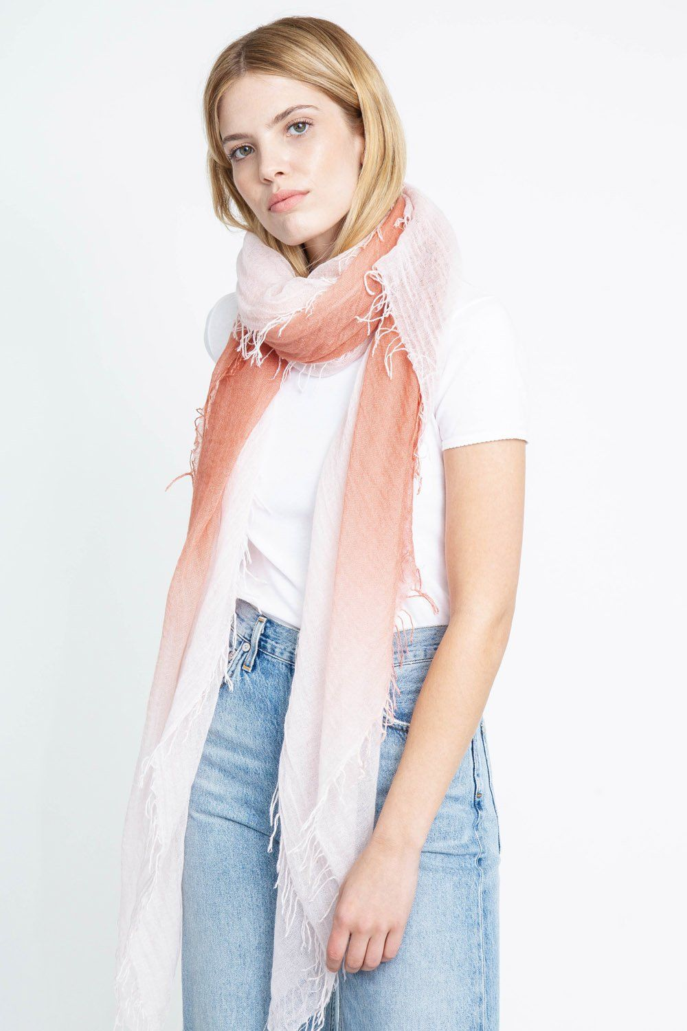 Cedar Wood Shell Dip-Dyed Cashmere and Silk Scarf