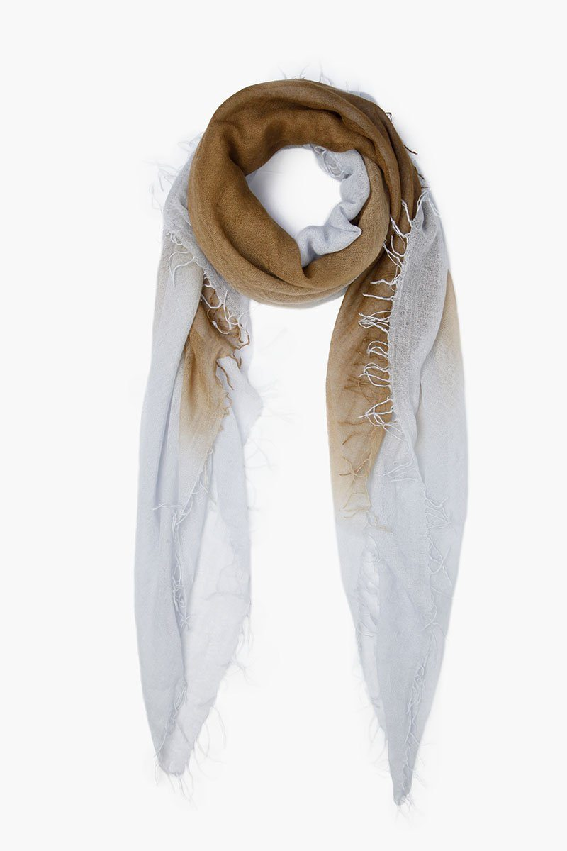 Fir Green Pearl Blue Clay Dip-Dyed Cashmere and Silk Scarf