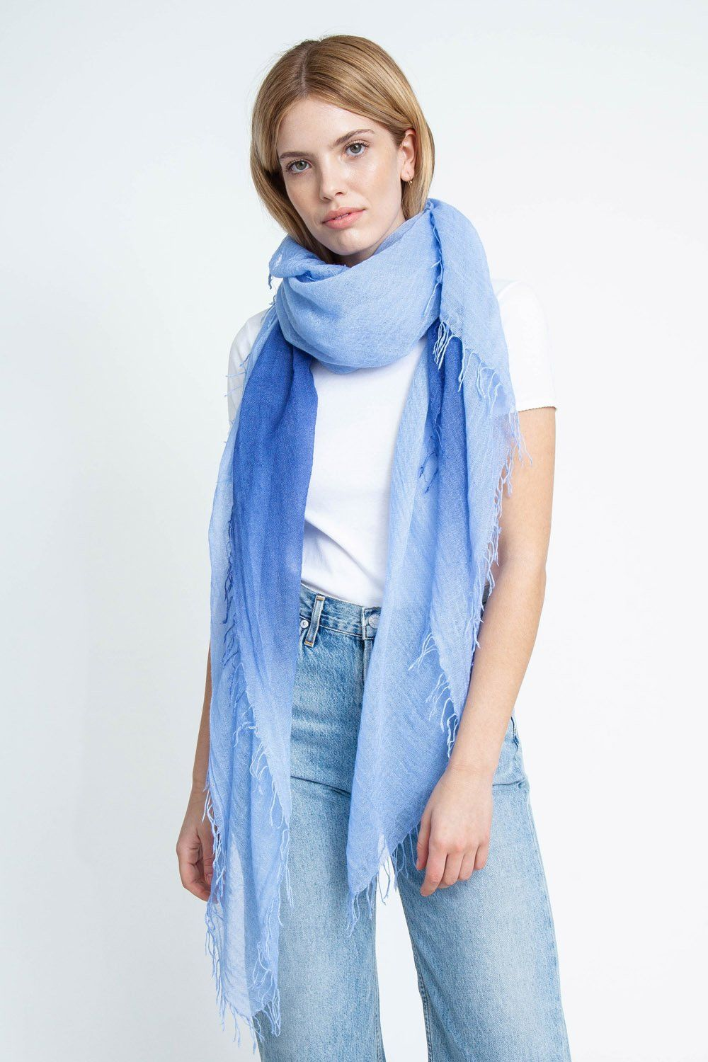 Gray Blue Serenity Dip-Dyed Cashmere and Silk Scarf