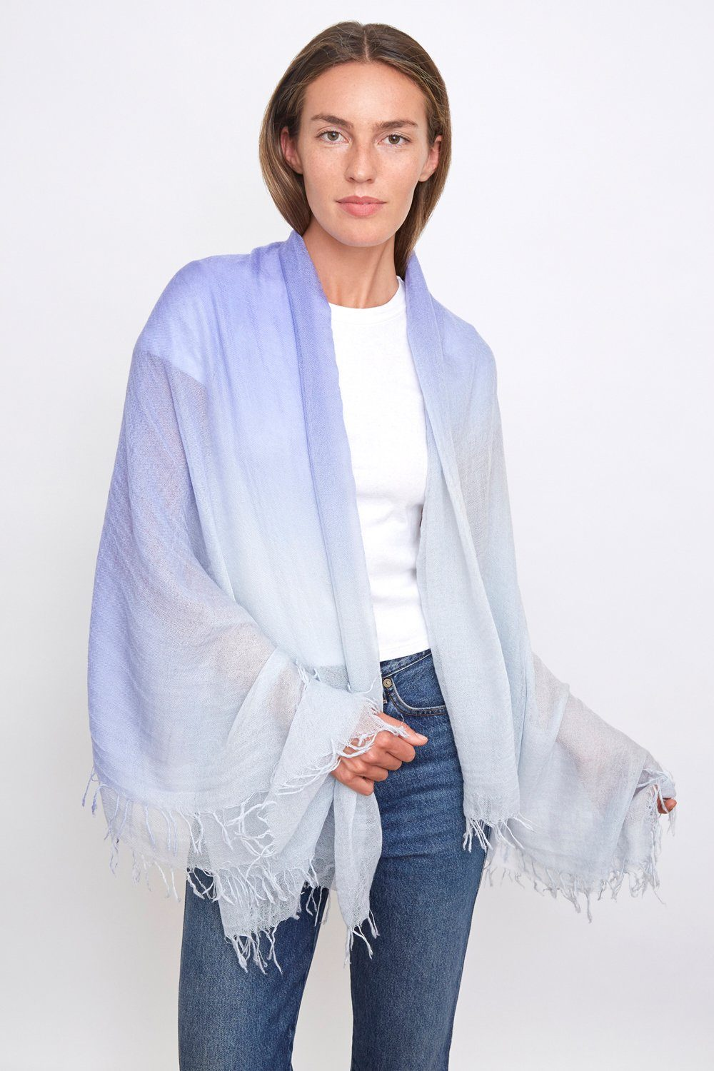 Plein Air Dip Dyed Cashmere and Silk Scarf