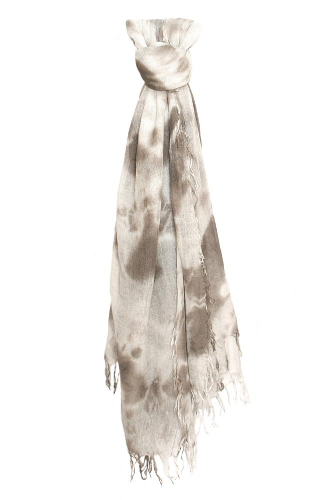 Cinder Eggshell Cashmere and Silk Tie-Dyed Scarf