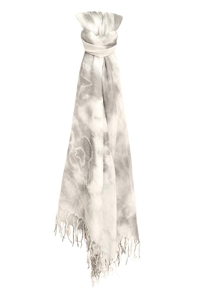 Griffin Eggshell Cashmere and Silk Tie-Dyed Scarf