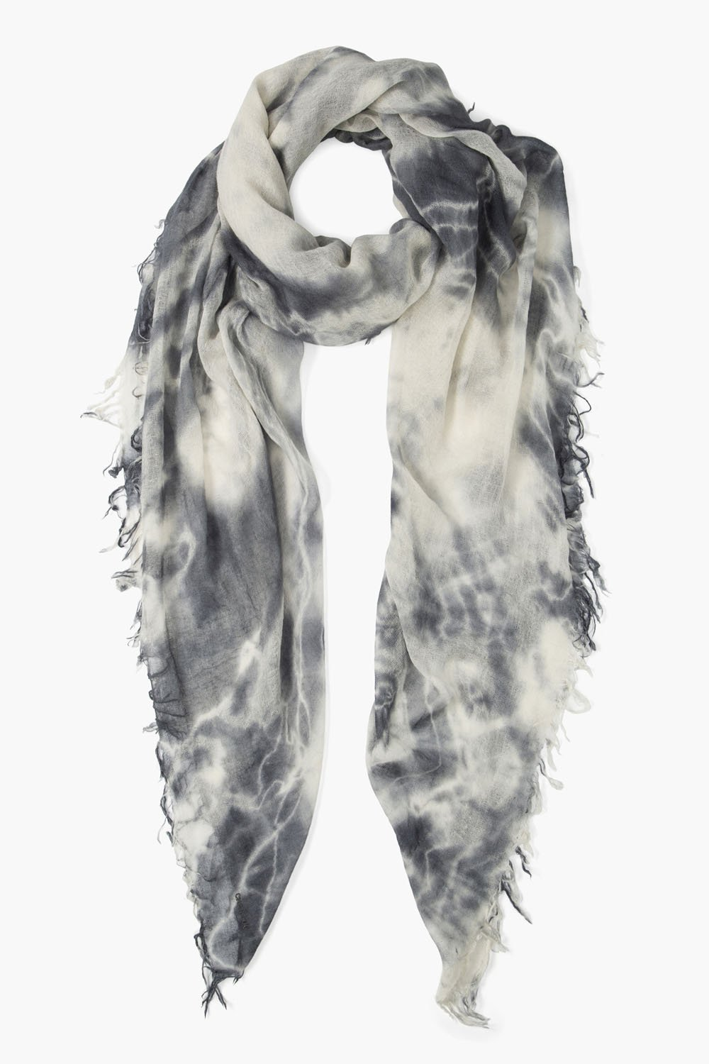 Brushed Nickel Tie Dye Cashmere Silk Scarf