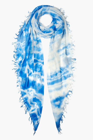 Dazzling Blue Tie Dye Cashmere and Silk Scarf