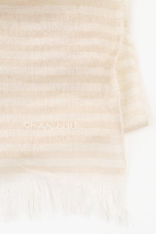 Doeskin Eggshell Stripe Cashmere and Silk Scarf