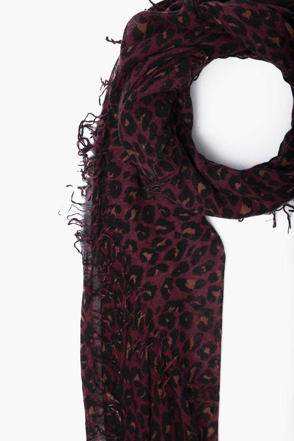 Cedar Wood Leopard Print Cashmere and Silk Scarf