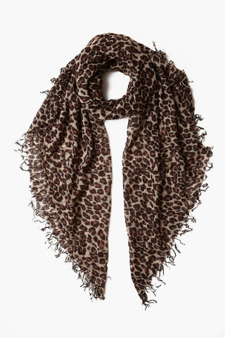 Doeskin Leopard Print Cashmere and Silk Scarf
