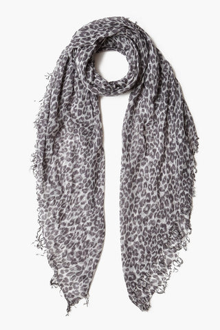 Glacier Grey Leopard Print Cashmere and Silk  Scarf