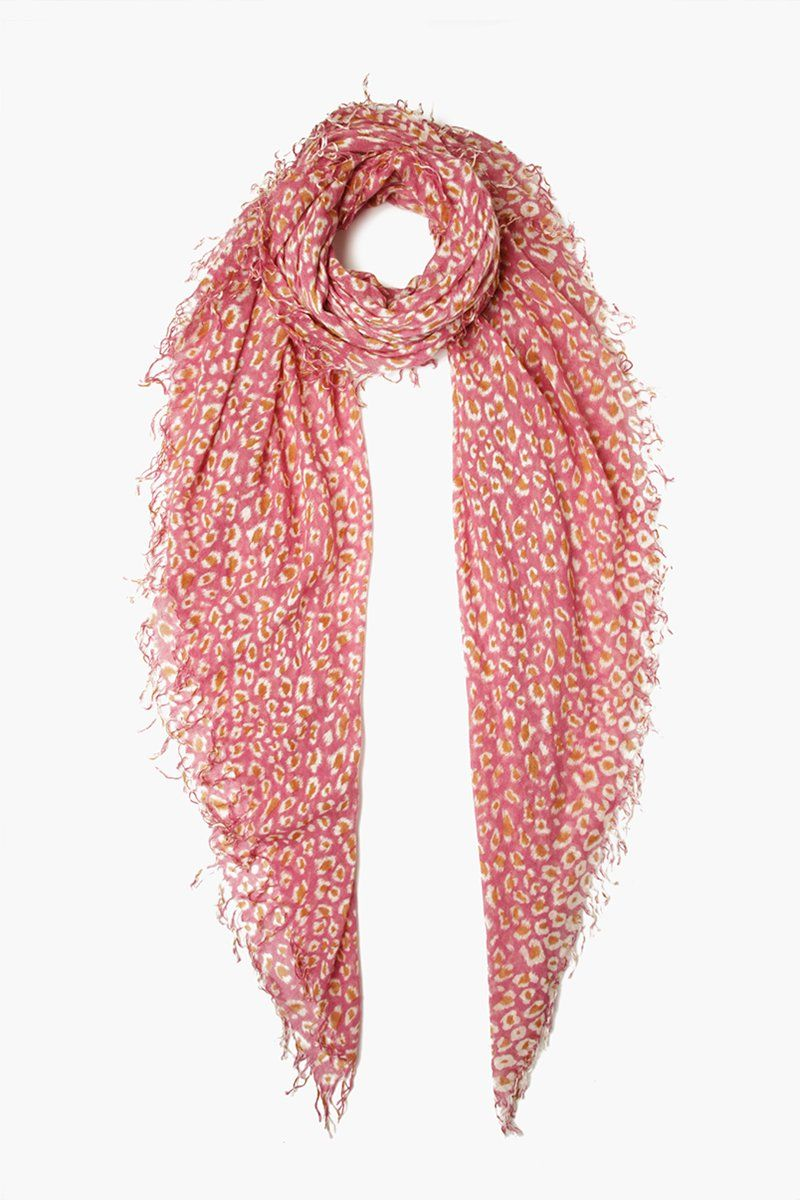 Meadow Mauve Leopard Print Cashmere and Silk Scarf
