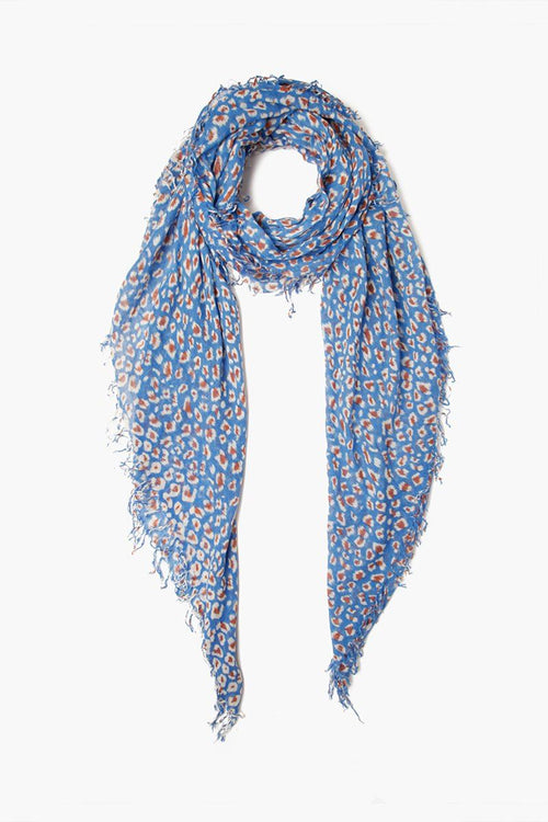 Palace Blue Leopard Print Cashmere and Silk Scarf