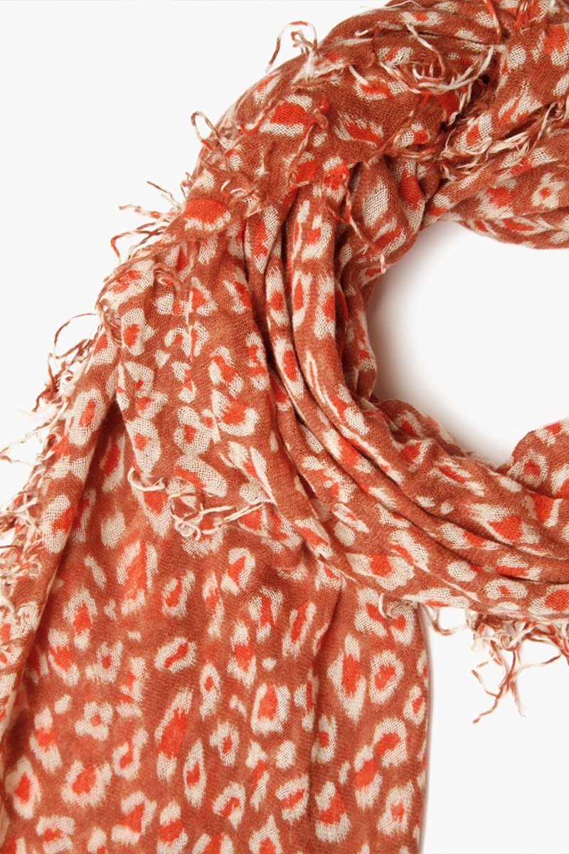 Redwood Leopard Print Cashmere and Silk Scarf