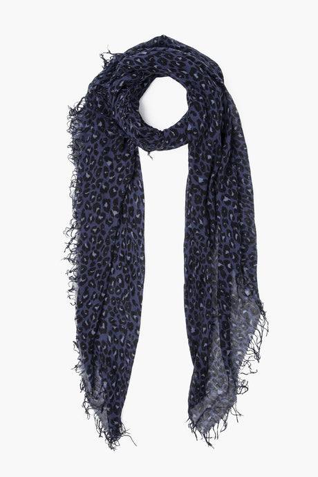 Stone Wash Leopard Print Cashmere and Silk Scarf