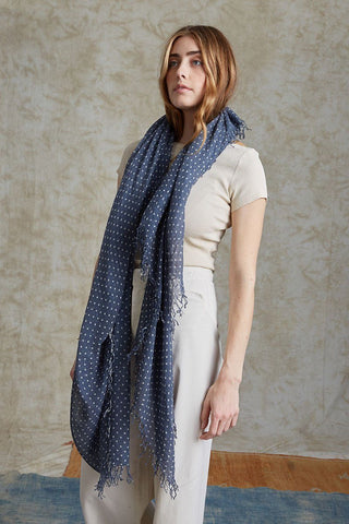 Blue Nights Polka Dot Cashmere and Silk Scarf