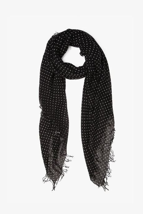 Black Cashmere and Silk Polka Dot Scarf