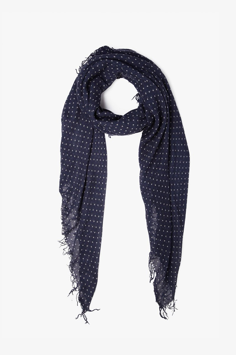 Blue Indigo/Eggshell Polka Dot Cashmere and Silk Scarf