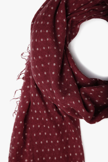 Red Pear/Eggshell Polka Dot Cashmere and Silk Scarf