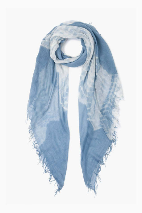 Blue Mirage Tie-Dyed Cashmere and Silk Scarf