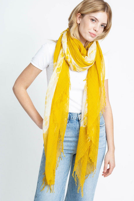Chai Tea Tie-Dyed Cashmere and Silk Scarf