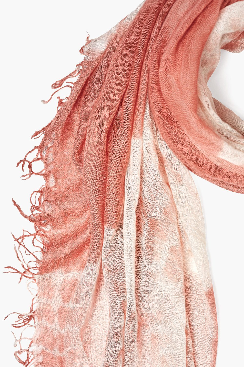 Desert Sand Tie-Dyed Cashmere and Silk Scarf