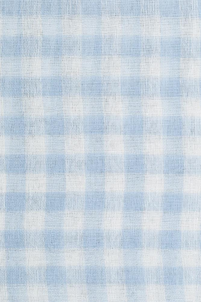 Dusty Blue Gingham Cashmere and Silk Scarf