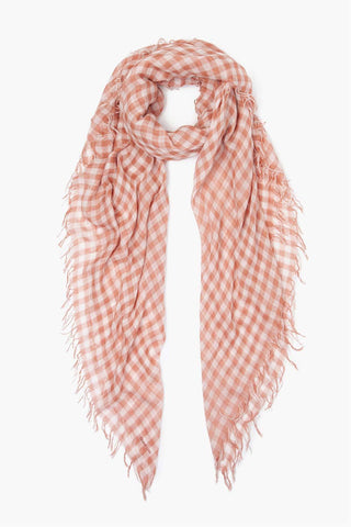 Cedar Wood Gingham Cashmere and Silk Scarf