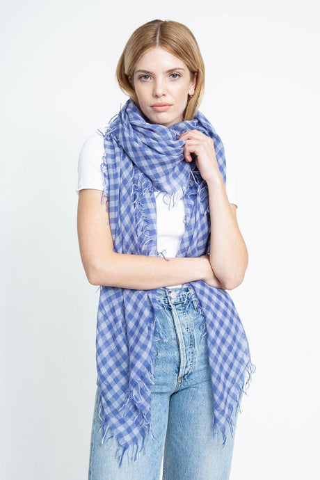 Gray Blue Gingham Cashmere and Silk Scarf