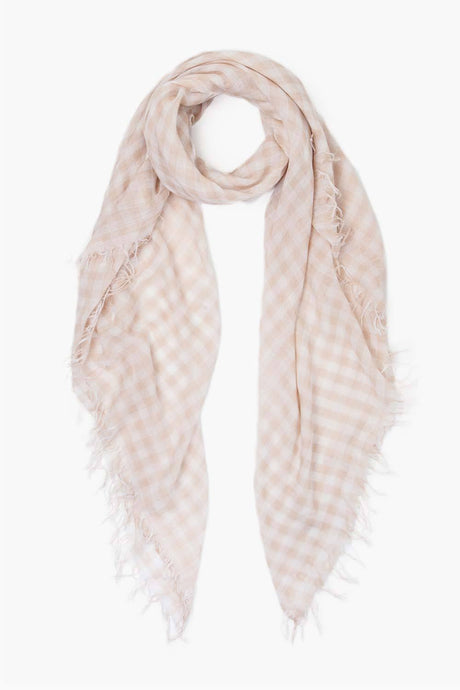 Moonlight White Gingham Cashmere and Silk Scarf