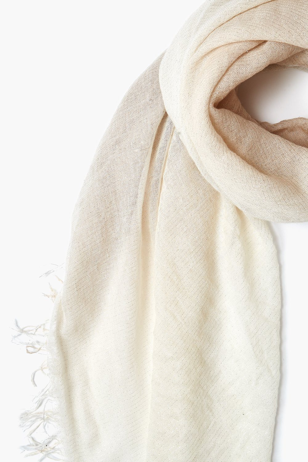 Doeskin / Seed Pearl Dip Dye with Silver Lurex Cashmere and Silk Scarf