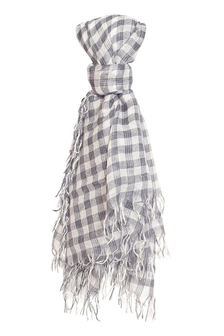 Ebony Metallic Gingham Cashmere and Silk Scarf