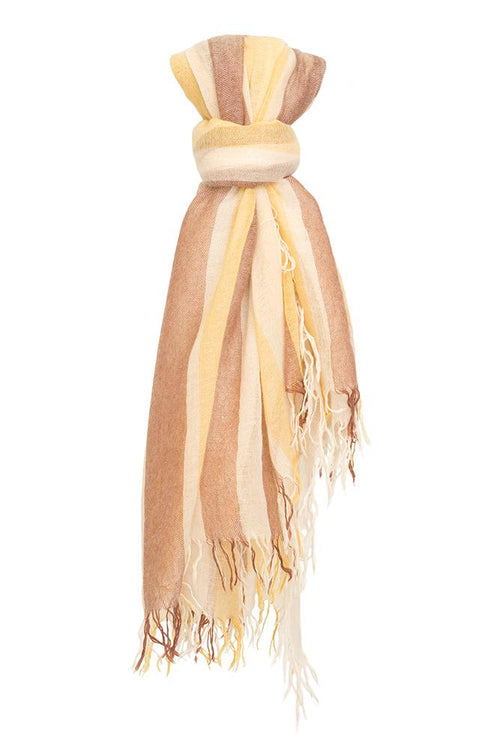 Honey Chunky Stripe Cashmere and Silk Scarf
