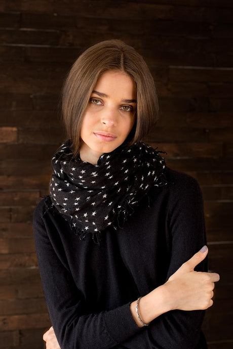 Black and White Stars Cashmere and Silk Scarf