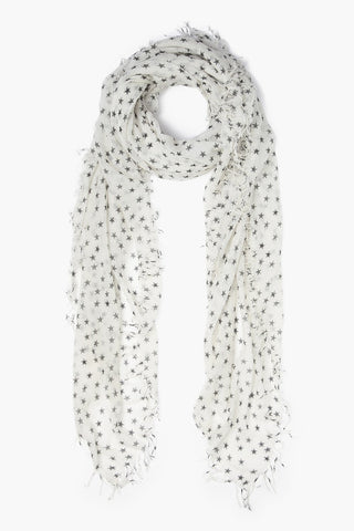White and Black Stars Cashmere and Silk Scarf