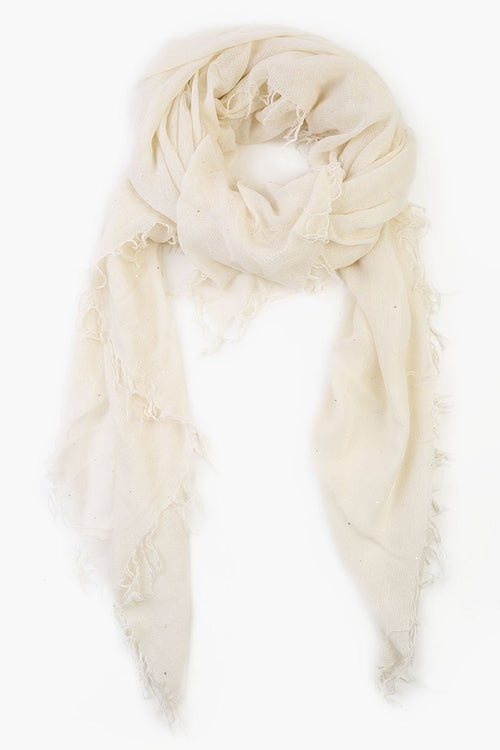 Egghshell Scattered Sequins Cashmere and Silk Scarf