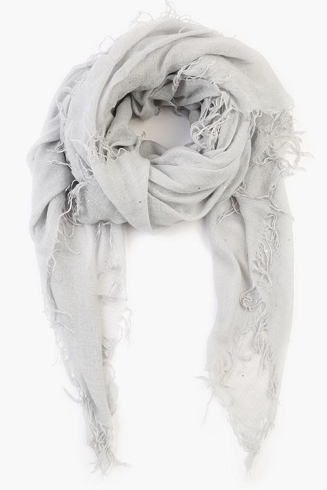 Harbor Mist Scattered Sequins Cashmere and Silk Scarf