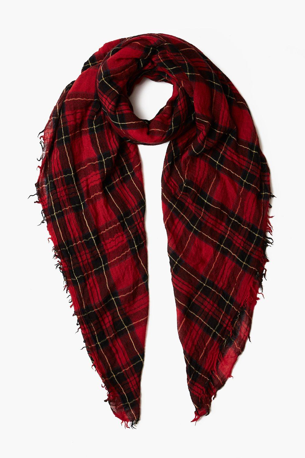 Red Traditional Plaid Wool Scarf