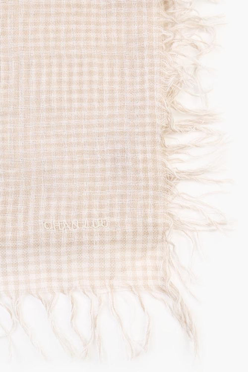 White Taupe Gingham Cashmere and Silk Scarf
