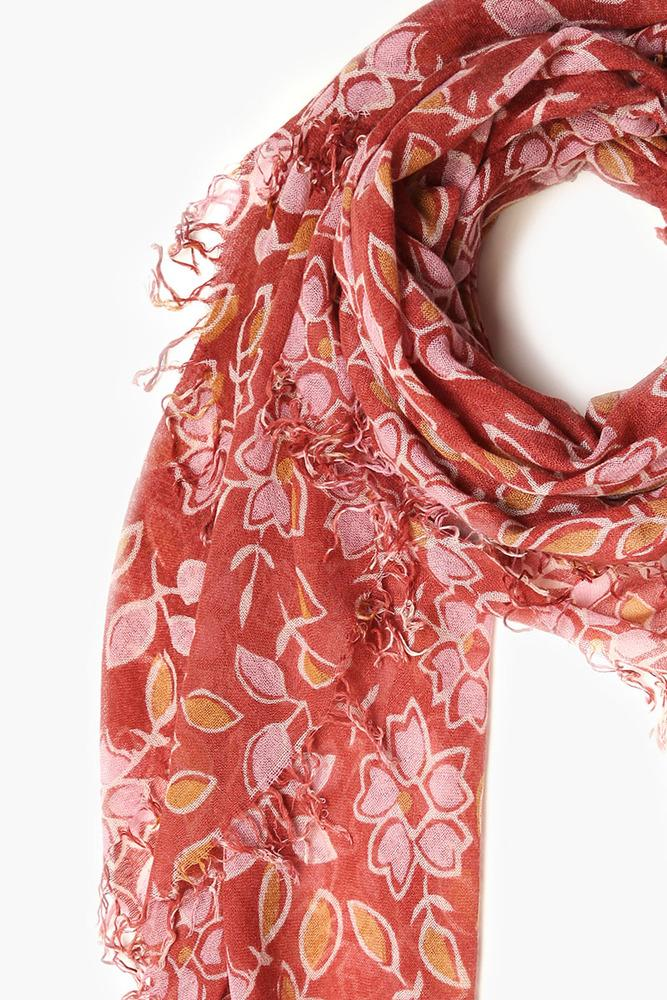 Henna Mix Vintage Floral Print Cashmere and Silk Scarf
