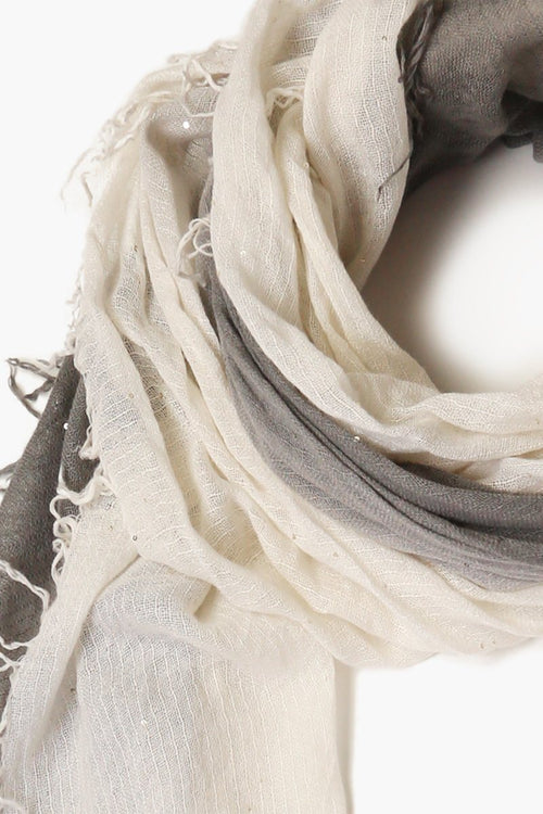 Castlerock/Eggshell Dawn Dip-Dyed Sequin Cashmere and Silk Scarf