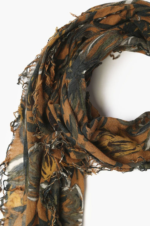 Brown Sugar Mix Painterly Floral Cashmere and Silk Scarf