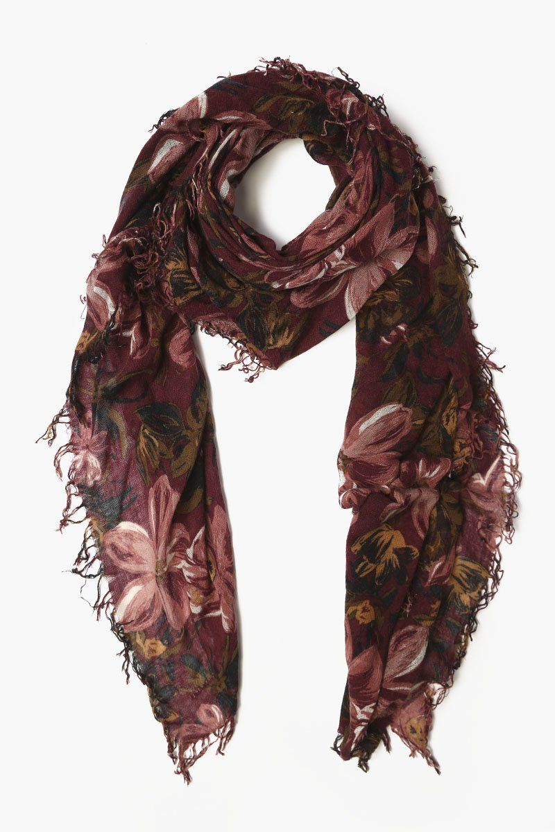 Tawny Port Mix Painterly Floral Cashmere and Silk Scarf