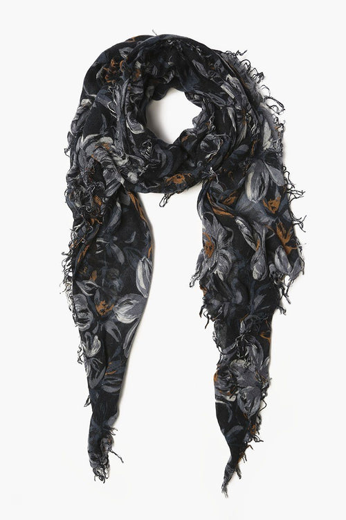 Total Eclipse Mix Painterly Floral Cashmere and Silk Scarf
