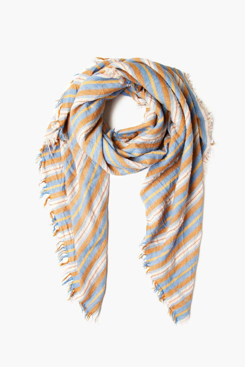 Palace Blue Stripe Print Wool Scarf