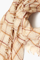 Seed Pearl Mix Plaid Wool Scarf