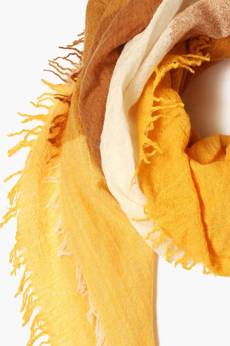 Harvest Gold Mix Color Block Wool Scarf