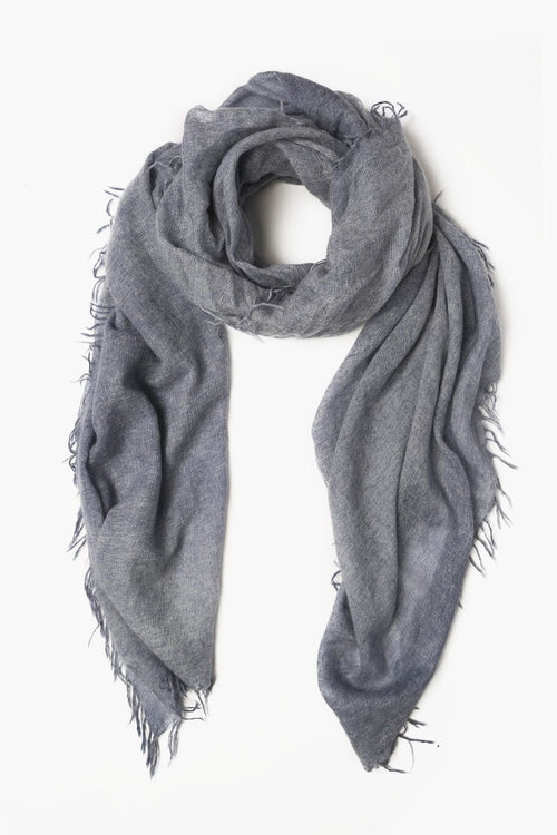 Stone Blue Heather Cashmere Scarf
