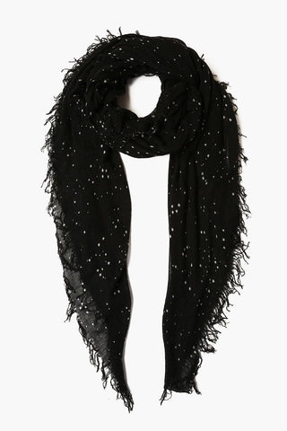Black Cosmos Cashmere and Silk Scarf