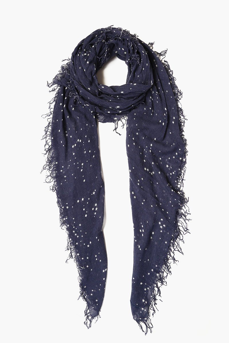 Blue Indigo Cosmos Cashmere and Silk Scarf