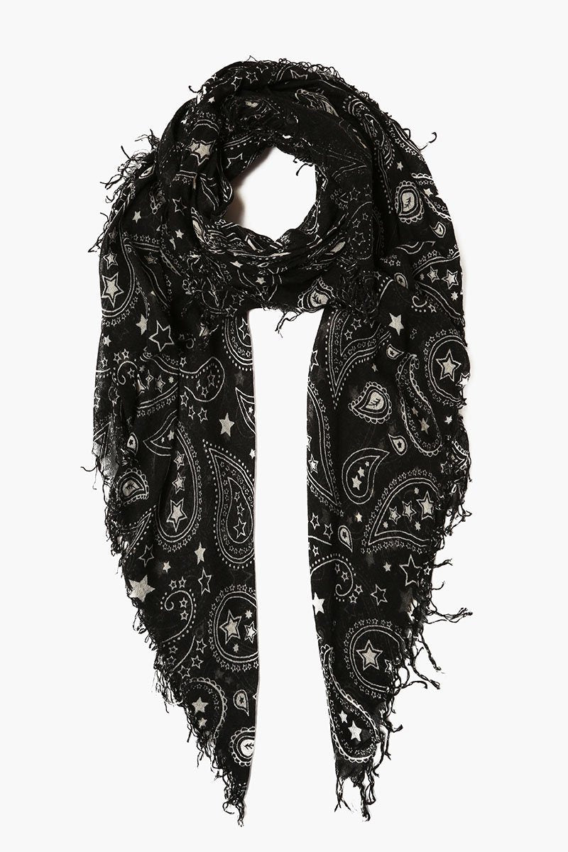 Black Paisley Cashmere and Silk Scarf