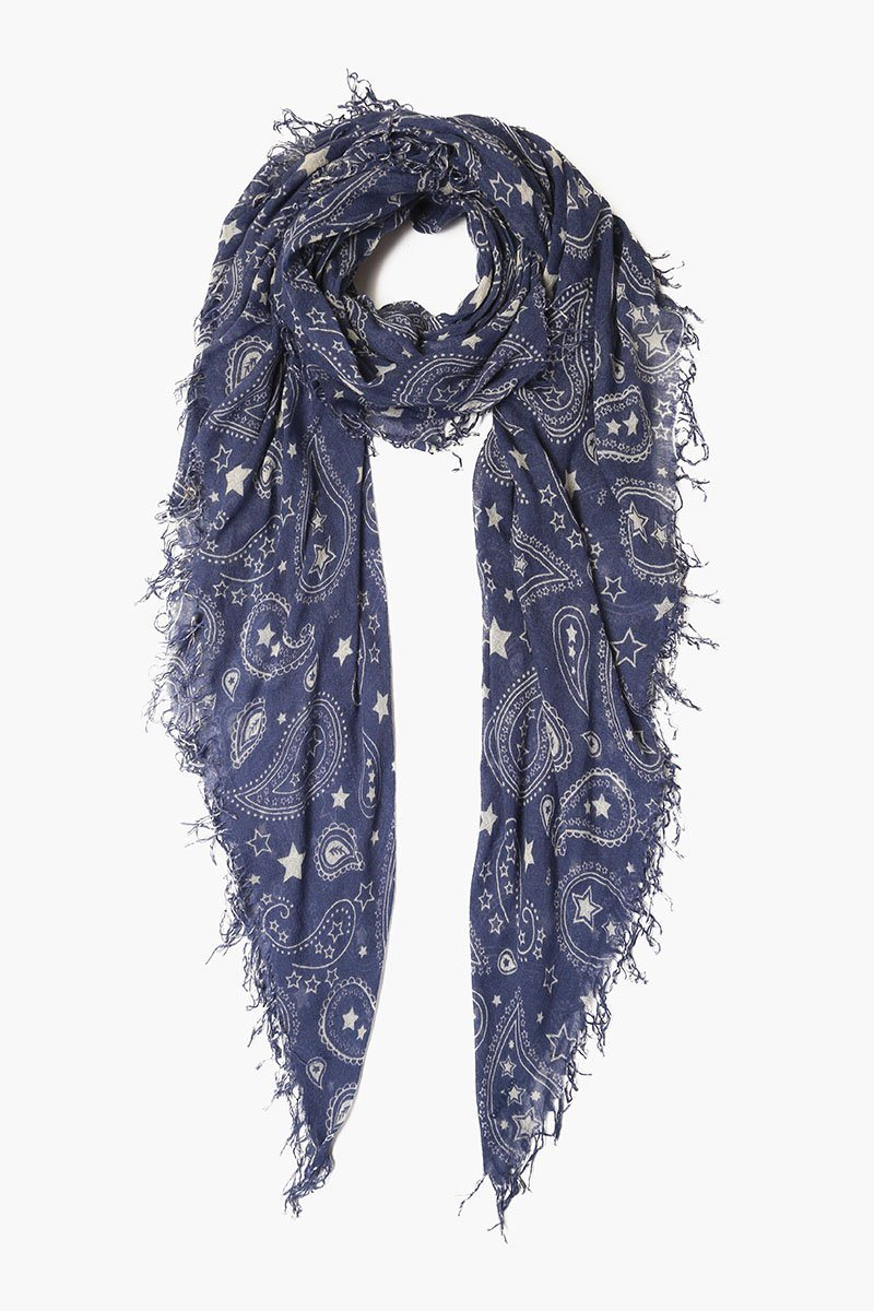 Blue Indigo Paisley Cashmere and Silk Scarf